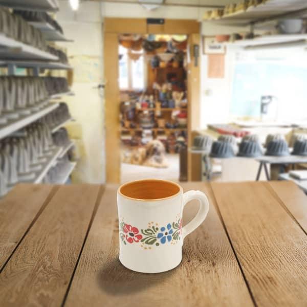 chope demi litre en terre cuite poterie friedmann, fabriquée artisanalement à partir de la terre naturelle de soufflenheim, Alsace