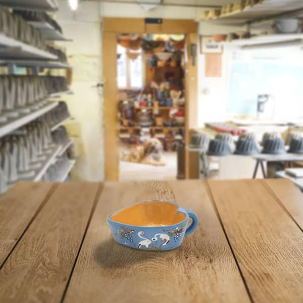 cœur ravier décoré en terre cuite poterie friedmann, savoir faire familial à Soufflenheim