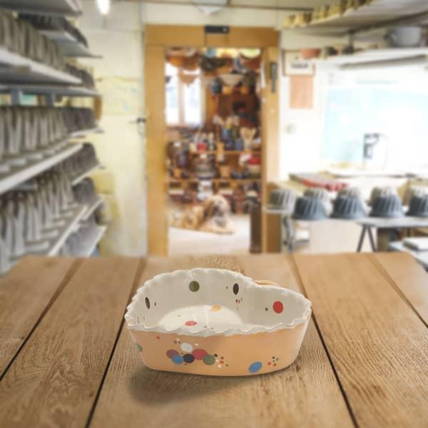 cœur valentin en terre cuite poterie friedmann, fabriqué en alsace