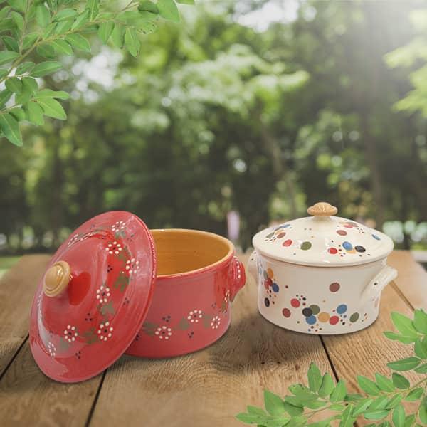 lot cocottes à pain en terre cuite poterie friedmann, fabriquées à partir de la terre naturelle de soufflenheim, Alsace