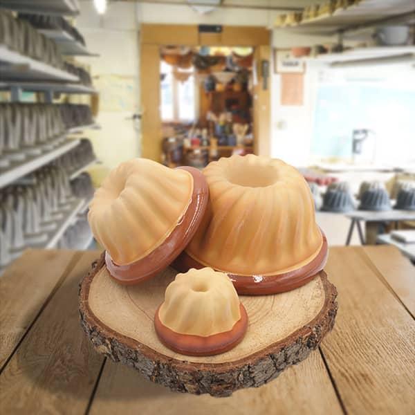 lot moules à kougelhopf kouglopf kouglof unis en terre cuite poterie friedmann, savoir faire familial
