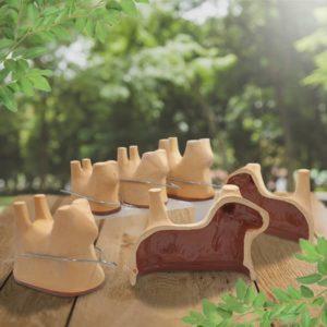 lot formes mouton en terre cuite, moules lammele, lammela, agneau pascal poterie friedmann, fabrication artisanale en Alsace