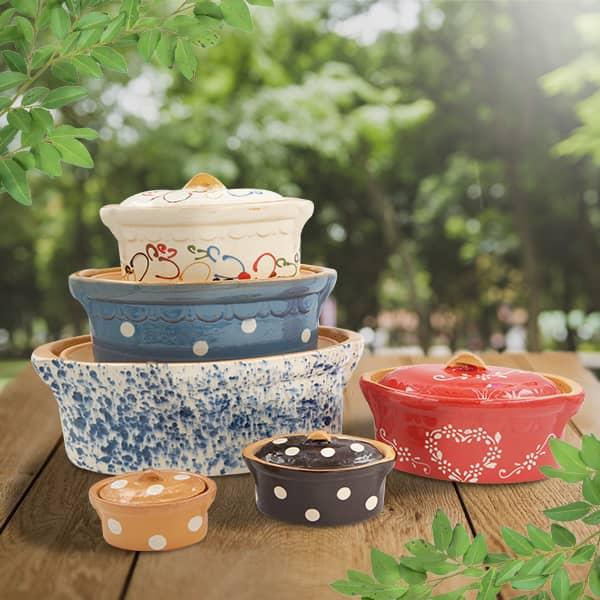 lot terrines ovales en terre cuite, terrines à baeckeoffe poterie friedmann, fabriquées à partir de la terre naturelle de Soufflenheim, Alsace