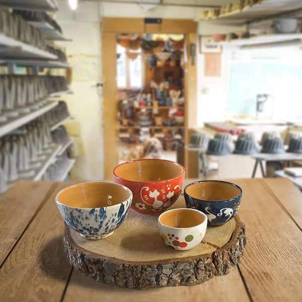 lot bols en terre cuite poterie friedmann, fabrication artisanale en Alsace