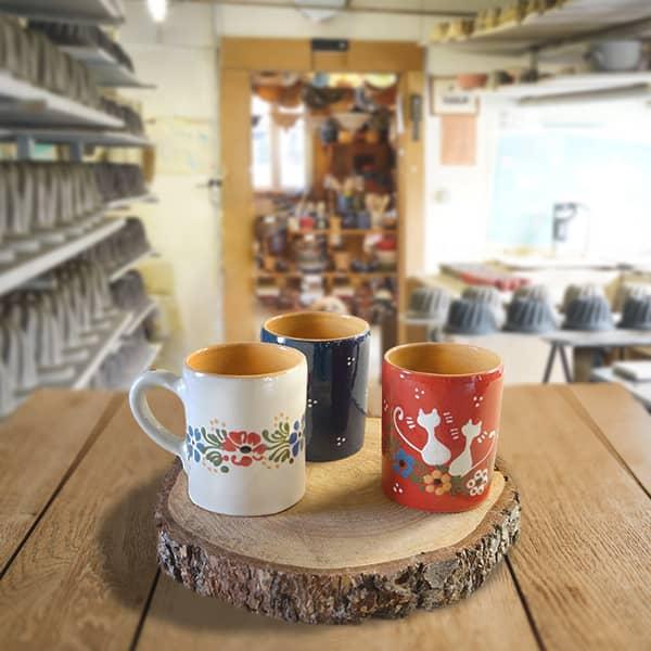 lot chopes demi litre en terre cuite poterie friedmann, famille de potiers depuis 1802 à Soufflenheim en Alsace