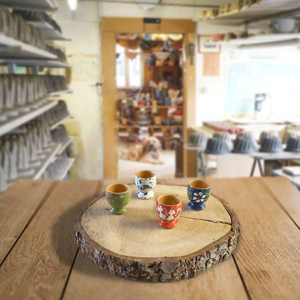 lot coquetiers en terre cuite poterie friedmann, famille de potiers depuis 1802 à Soufflenheim, Alsace