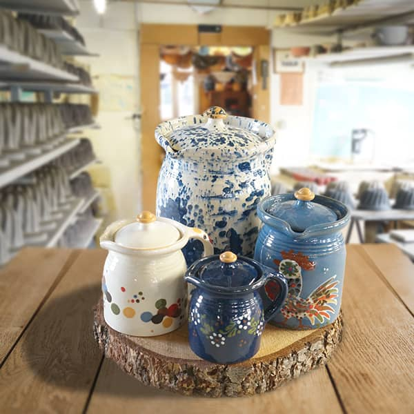 lot crinolines en terre cuite poterie friedmann, famille de potiers depuis 1802 à Soufflenheim, Alsace