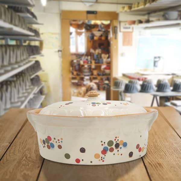 terrine ovale en terre cuite terrine à baeckeoffe poterie friedmann, fabriquée à partir de la terre naturelle de soufflenheim, Alsace