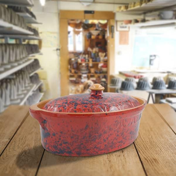 terrine ovale en terre cuite, terrine à baeckeoffe, poterie friedmann, famille de potiers depuis 1802 à Soufflenheim, Alsace