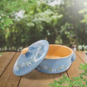 daubière ronde basse en terre cuite poterie friedmann, fabrication artisanale en Alsace