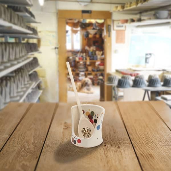 lèche cuillère haut en terre cuite poterie friedmann, fabrication artisanale à Soufflenheim, Alsace