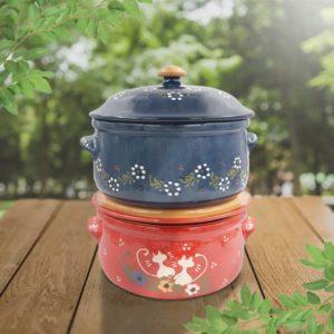 lot daubières rondes en terre cuite poterie friedmann, fabriqués à partir de la terre naturelle de Soufflenheim, Alsace