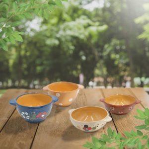 lot ecuelles en terre cuite poterie friedmann, fabriqués à partir de la terre naturelle de soufflenheim