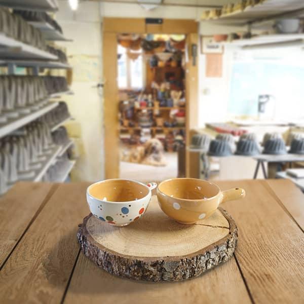 lot entonnoirs à confiture en terre cuite poterie friedmann, famille de potiers depuis 1802 à Soufflenheim, Alsace