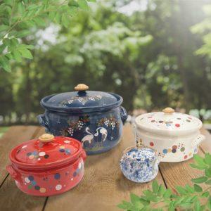 lot faitouts en terre cuite décorés poterie friedmann, fabriqués à partir de la terre naturelle de soufflenheim, Alsace
