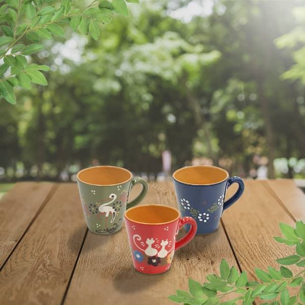 lot grandes tasses droites en terre cuite poterie friedmann, terre naturelle de soufflenheim, Alsace