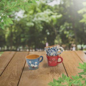 lot petites tasses droites en terre cuite poterie friedmann terre naturelle de soufflenheim Alsace