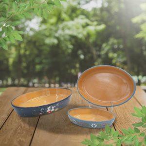 lot plats ovales en terre cuite poterie friedmann terre naturelle de soufflenheim