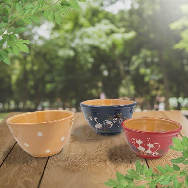 lot saladiers bombés en terre cuite décorée poterie friedmann