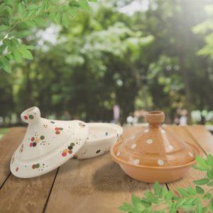lot tajines terre cuite décorées poterie friedmann à Soufflenheim savoir faire artisanale