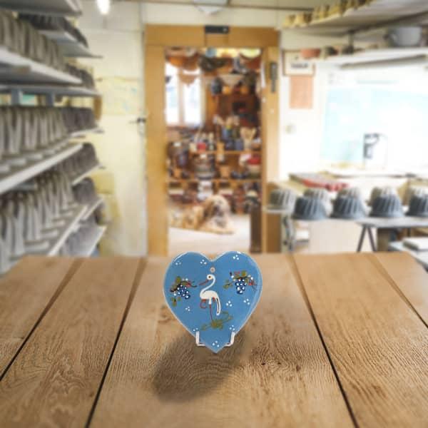 plaquette cœur décoré poterie friedmann, terre naturelle de soufflenheim, Alsace
