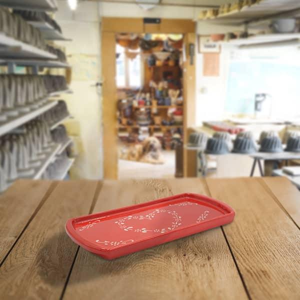 plat à cake en terre cuite poterie friedmann, terre naturelle de soufflenheim en Alsace