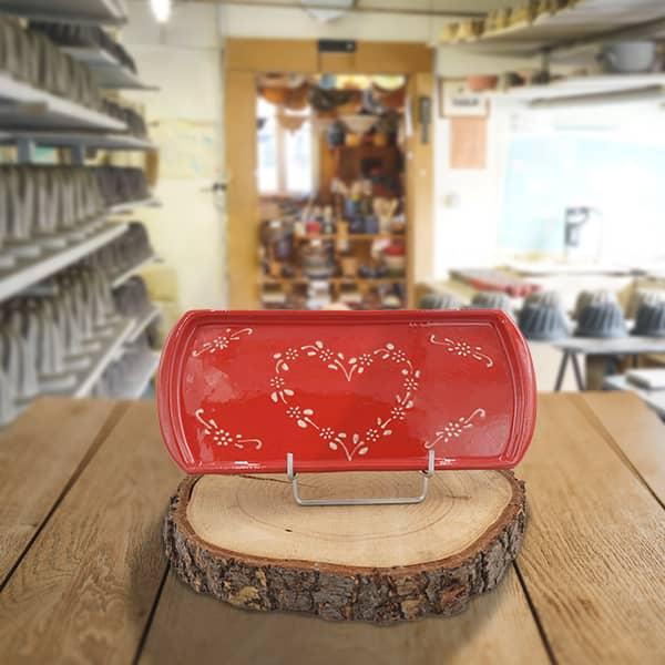 plat à cake en terre cuite poterie friedmann, savoir faire artisanal à Soufflenheim en Alsace