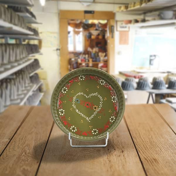 plat moule à tarte en terre cuite poterie friedmann, terre naturelle de soufflenheim en Alsace