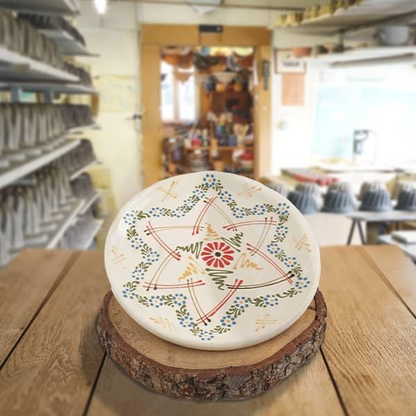 plat à tarte en terre cuite poterie friedmann, famille de potiers depuis 1802 à Soufflenheim en Alsace